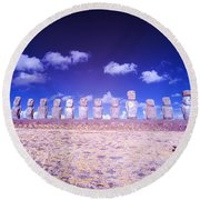 Ahu Tongariki Infrared Round Beach Towel