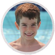 Aidan At The Pool Round Beach Towel
