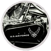 Air Force Motorcycle Round Beach Towel