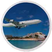 Air France At St. Maarten Round Beach Towel