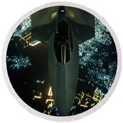 Air To Air Refueling At Night Round Beach Towel