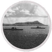 Aircraft Carriers In Hawaii Round Beach Towel
