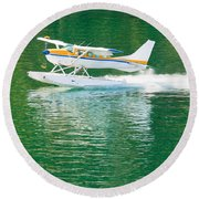 Aircraft Seaplane Taking Off On Calm Water Of Lake Round Beach Towel