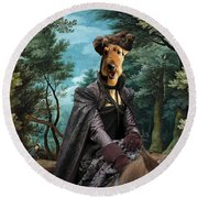Airedale Terrier Art Canvas Print - Forest Landscape With Deer Hunting And Noble Lady Round Beach Towel