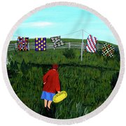 Airing Grandmother's Quilts Round Beach Towel