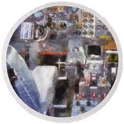 Airplane Cockpit Photo Art Round Beach Towel