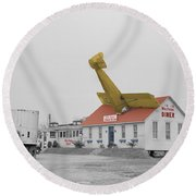 Airplane Diner Round Beach Towel