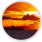 Airplane Over An Island In Newfoundland Round Beach Towel