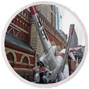 Airplane Sculpture In Philadelphia Pa - Navy S2f Round Beach Towel