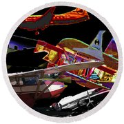 Airplanes Collage  Round Beach Towel