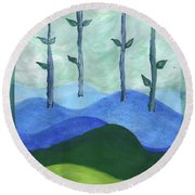 Airy Four Of Wands Round Beach Towel