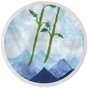 Airy Two Of Wands Round Beach Towel