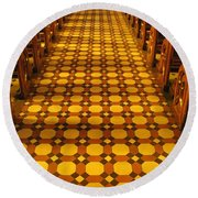 Church Aisle Patterned Floor Round Beach Towel