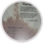 Aiton Heights Fire Tower Round Beach Towel