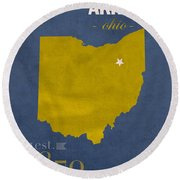 Akron Zips Ohio College Town State Map Poster Series No 007 Round Beach Towel