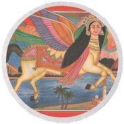 Al Buraq Dul Dul Horse Prophet Muhammad Painting Handmade Islamic Paper Painting Folk Art Round Beach Towel