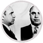 Al Capone Mug Shot Round Beach Towel by Edward Fielding