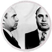 Al Capone Mug Shot Round Beach Towel