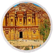 Al-dayr Or The Monastery In Petra-jordan  Round Beach Towel