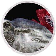 Alabama Football Mascot Round Beach Towel by Kathy Clark