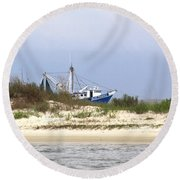Alabama - Gulf Of Mexico Shrimper - Beautiful Day For Fishing Round Beach Towel