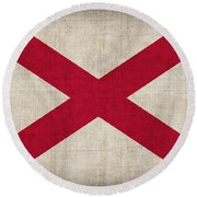 Alabama State Flag Round Beach Towel by Pixel Chimp