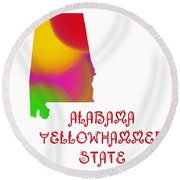 Alabama State Map Collection 2 Round Beach Towel