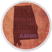 Alabama Word Art State Map On Canvas Round Beach Towel