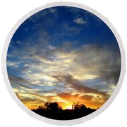Alabaster Sky Round Beach Towel