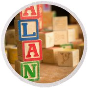 Alan - Alphabet Blocks Round Beach Towel