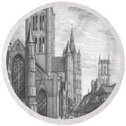 Alarming Morning In Ghent. The Left Part Of The Triptych - The Age Of Cathedrals Round Beach Towel