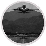 Alaska Airlines Palm Springs Takeoff Round Beach Towel by John Daly