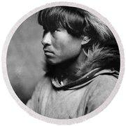 Alaska Eskimo Man, C1906 Round Beach Towel