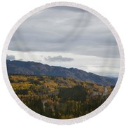 Alaska Highway At Lewes River Bridge  Round Beach Towel