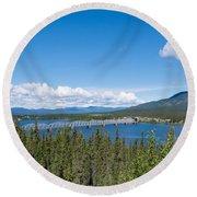 Alaska Highway Steel Bridge Teslin Yukon Canada Round Beach Towel