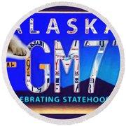 Alaska License Plate Round Beach Towel