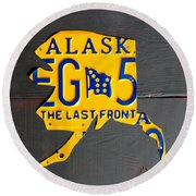 Alaska License Plate Map Artwork Round Beach Towel
