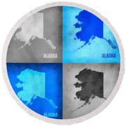 Alaska Map Art Round Beach Towel