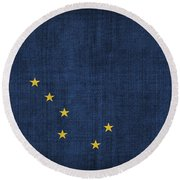 Alaska State Flag Round Beach Towel by Pixel Chimp