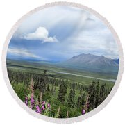 Alaska Through My Eyes Round Beach Towel