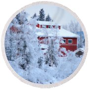 Alaskaland Train Station I Round Beach Towel