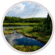 Alaskan Backyard Round Beach Towel