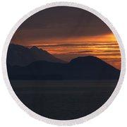 Alaskan Mountain Sunset Round Beach Towel