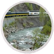 Alaskan Railroad Round Beach Towel