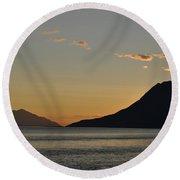 Alaskan Sunset Round Beach Towel