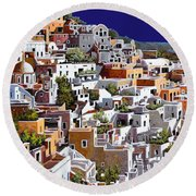 alba a Santorini Round Beach Towel by Guido Borelli