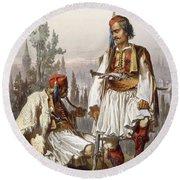 Albanians, 1865 Round Beach Towel