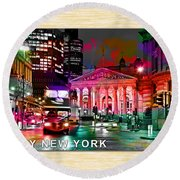 Albany New York Skyline Painting Round Beach Towel