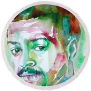 Albert Ayler - Watercolor Portrait Round Beach Towel