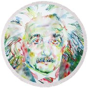 Albert Einstein Watercolor Portrait.1 Round Beach Towel
